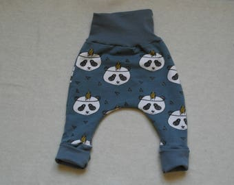teal 3 months harem pants with pandas head