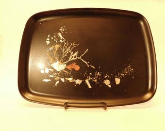"Vintage Couroc tray with underwater motif. 12 5/8""x 9 5/8"""