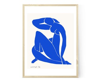Matisse blue woman print, abstract woman print, picasso print, matisse, Abstract Modern Print, eclectic art, large modern wall art, picasso