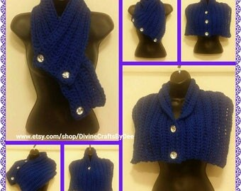 6-Way Style Crochet Scarf / Shawl / Wrap- Adult