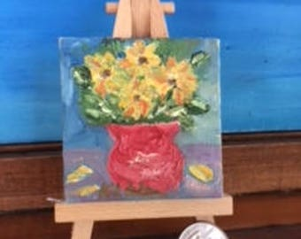 Joy Comes in the Morning Mini Oil Painting with Wooden Easel