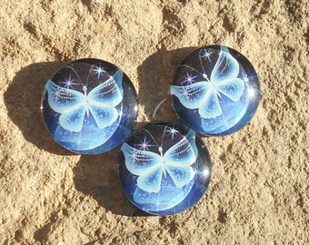 20 mm blue butterfly glass cabochon