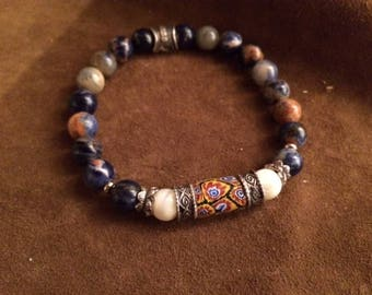 Men's bracelet/women's bracelet with antique Millefiori Venetian