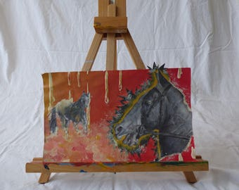 """Original 8 1/2"""" by 14"""" ombre background horse head and running horses multimedia collage art picture piece"""