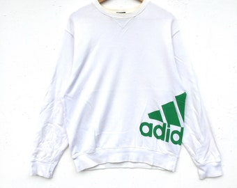 Adidas Sweatshirt Big Logo spell out Embroidery Sweat Medium Size Jumper Pullover Jacket Sweater Shirt Vintage 90's
