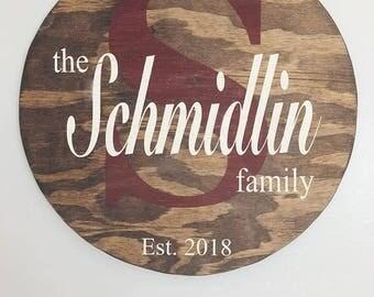 Monogram Family Pallet Sign