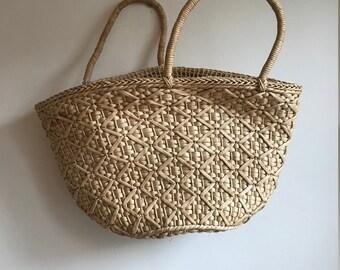 Vintage Straw Market Tote Bag