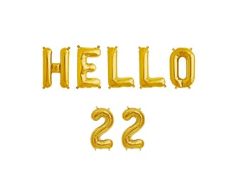 Hello 22 Gold Balloons,Hello 22 Letter Balloons,Hello 22 Gold Letter Balloons,22 Gold Balloons,22nd Birthday Balloons,22 Number Balloons