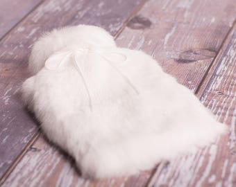 Winter White Fur Hot Water Bottle, Luxury Hot Water Bottle