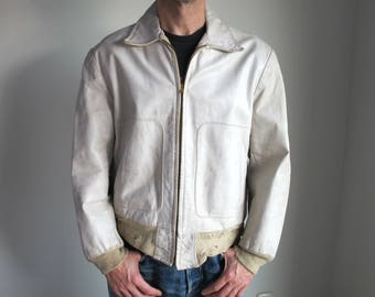 Rare vintage 1940s-50s white leather men's jacket Irvin Forster Size 40. vtg