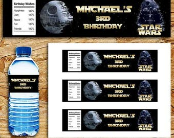 Star Wars Water Bottle Label, Star Wars Printable Bottle Wraps, Star Wars Birthday Party