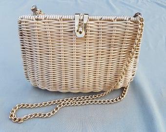 Vintage Straw Hard Case Clutch Bag With Gold Shoulder Strap