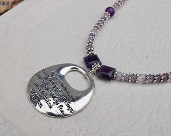 Serenity Prayer Amethyst necklace