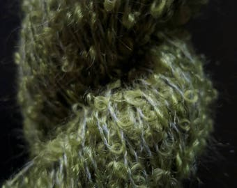 Olive Green Boucle Mohair Skein
