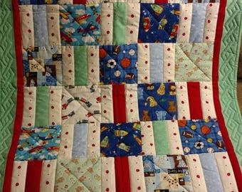 Baby Boys Quilt, Hand Quilted Boys Quilt