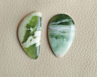 Natural Serpentine Beautiful Shape 02 Piece Gemstone Cabochon, Serpentine Stone Weight 75 Carat and Size 40x25x6, 43x21x6 MM Approx.