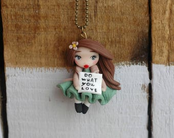 Polymer clay doll necklace