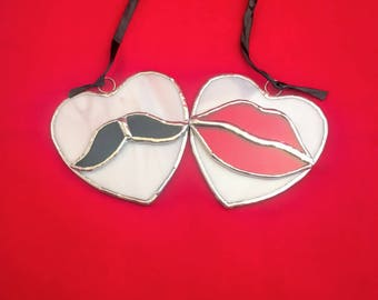 His Hers Hearts - Stained Glass Suncatcher ornament decoration