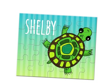 Turtle Jigsaw Puzzle - 20 Piece Puzzle - Custom Name Puzzle - 8 x 10 Puzzle - Children's Puzzle - Stocking Stuffer - Kids Jigsaw Puzzle