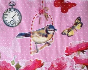 Chickadee bird napkin