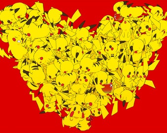Pikachu Hearts Custom Playmat Mouse Pad 24 x 14 inches Yugioh Magic the Gathering Pokemon HD Prints Made in USA