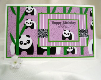 happy birthday to you card,panda bear card,cute bear card,greeting cards,purple card,layered card,bamboo card,ribbon,birthday card