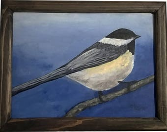 Chickadee On A Branch with frame