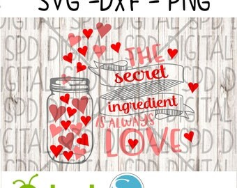 Valentine's Svg, Secret Ingredient Svg, DXF, PNG, SVG files for Silhouette and Cricut