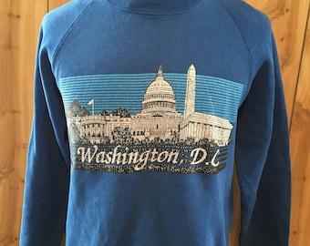 Vintage Washington DC Crewneck Sweatshirt - vintage sweatshirt - 80s sweatshirt - pullover - jumper (Large)