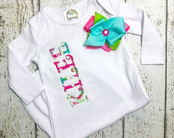 Personalized Going Home Outfit Girl | Coming Home Gown Girl | Coming Home Outfit Baby Girl | Infant Going Home Outfit Girl | Applique Gown