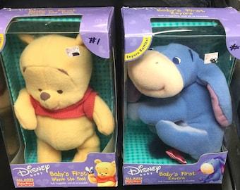 Disney Baby's First Winnie the Poo & Eeyore Plush Rattling Figures NEW 2001 Mattel Fisher Price