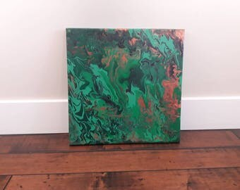 "Acrylic Pour Artwork // Abstract Art // Acrylic Painting // Original Painting // Wall Art // Home Decor // Colorful Art// ""Copper Malachite"""