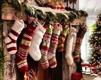 Knit Personalized Christmas Stockings Knit Personalized gift Embroider Christmas Stockings Fair Isle Christmas Stocking Fair Isle Stocking