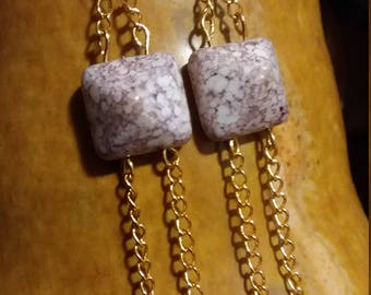 Marbled and Gold Earrings