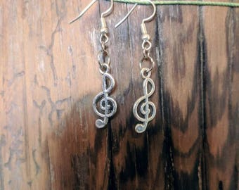 Silver Treble Clef Earrings
