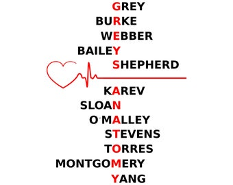 Greys Anatomy TV Show SVG, vector, Cut Files, Svg Files, Cricut Files, vector Files, silhouette