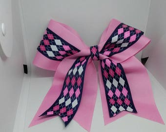 Pink and Argyle XL cheer bow