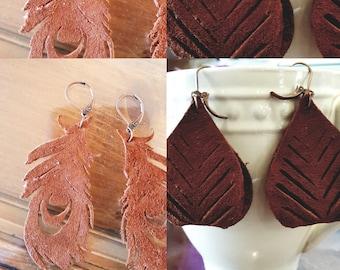 Real leather earrings nickel free