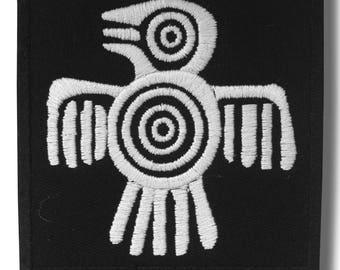 Actecs bird - embroidered patch 8x8 cm