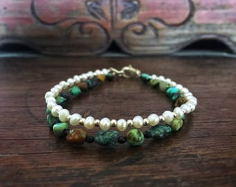 Pearl and turquoise nugget bracelet