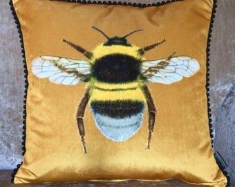 Velvet Gold Bumblebee Cushion