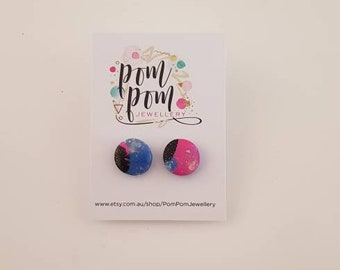 polymer clay multicolor sparkly studs