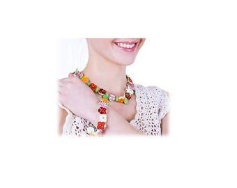 Necklace and bracelet from Venetian art glass, 50cm, 20cm