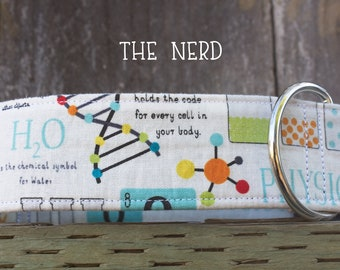 The Nerd Dog collar, nerdy dog collar, science dog collar, geeky dog collar, white dog collar, rainbow, colorful, chemistry biology, physics