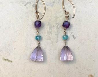 Lavender Amethyst Drop Earrings