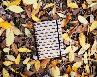 A5 travel notebook, kraft travel journal, travel book, handmade, recycled paper, paper kraft, mountain love, hiking