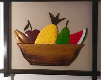 Hand Carved Fruit Basket Wall Relief