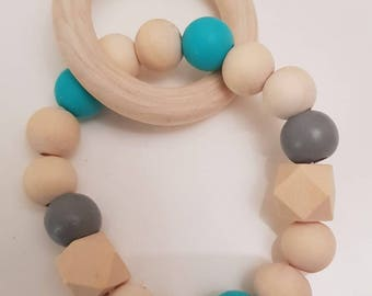 Personalised with initials*wooden & silicone teething rattle/bracelet*teal*grey*gift*christening*BPA FREE