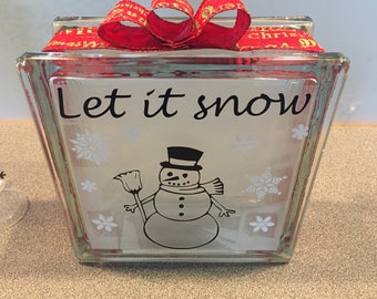"Glass BLOCK ""Let it Snow"""