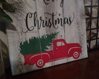 Merry Christmas vintage truck and tree